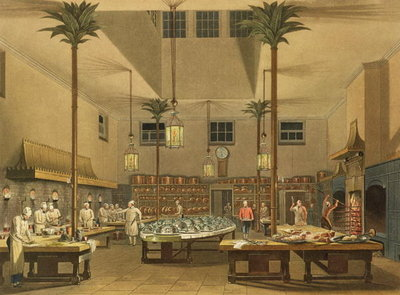 The Royal Kitchen at the Royal Pavilion in Brighton, England from John Nash's Views of the Royal Pavilion (1826).